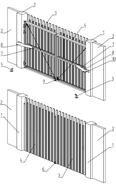 Конструкция распашных ворот Алютех