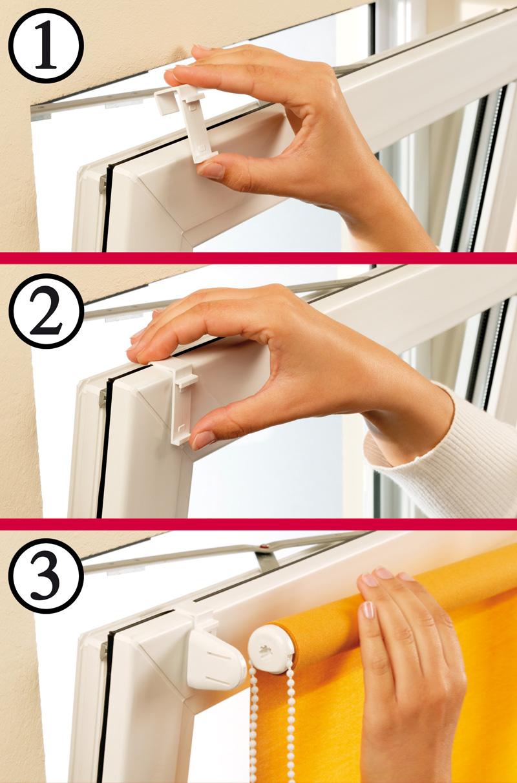 Крепление рулонных штор МИНИ на Г-образные крючки на пластиковые окна